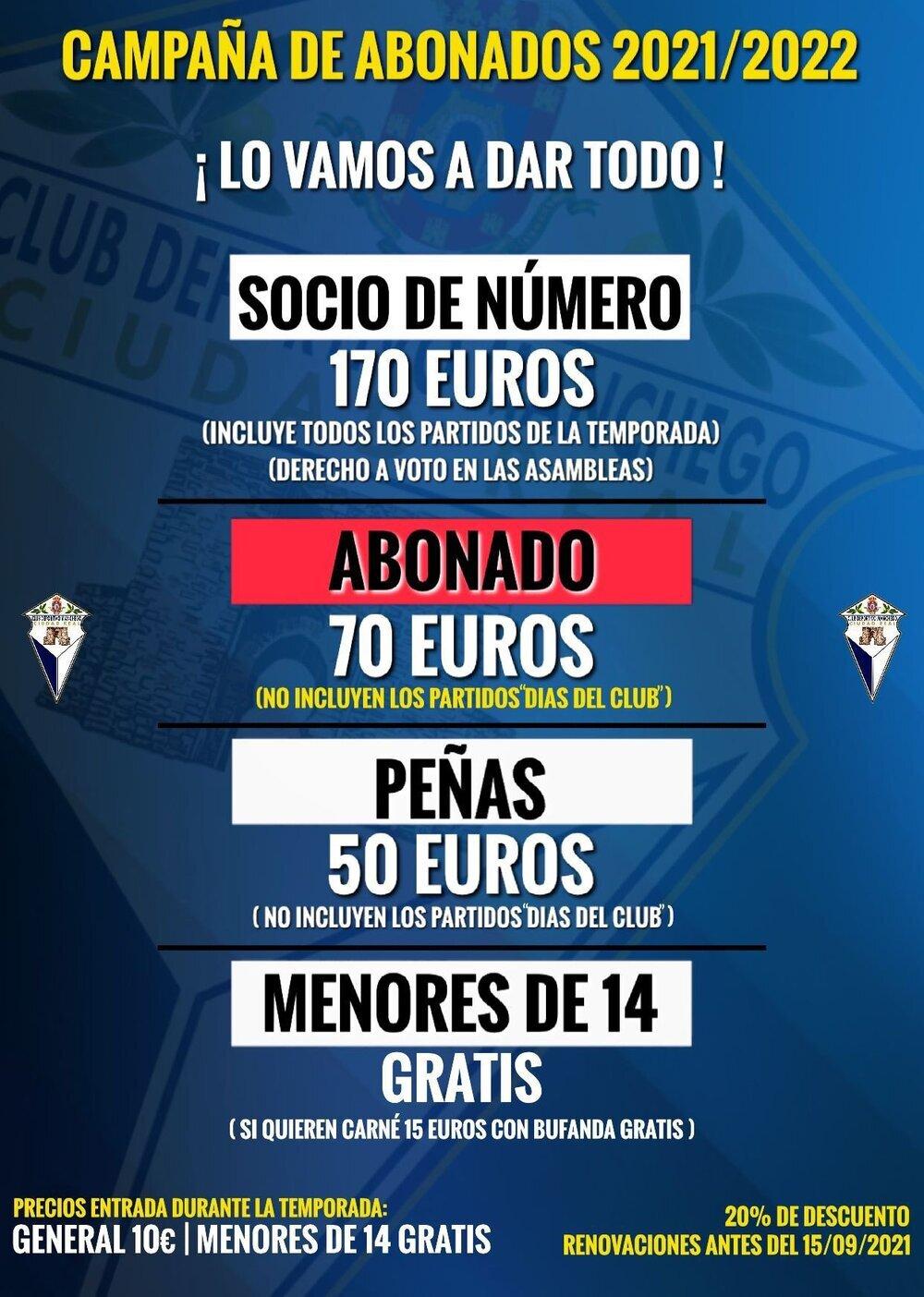 Cartel de la campaña de abonados del CD Manchego.