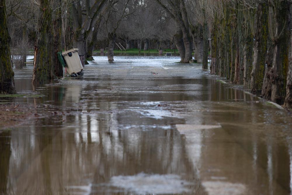 El río Adaja se ha desbordado a su paso por El Sotodebido a las lluvias de las últimas horas.