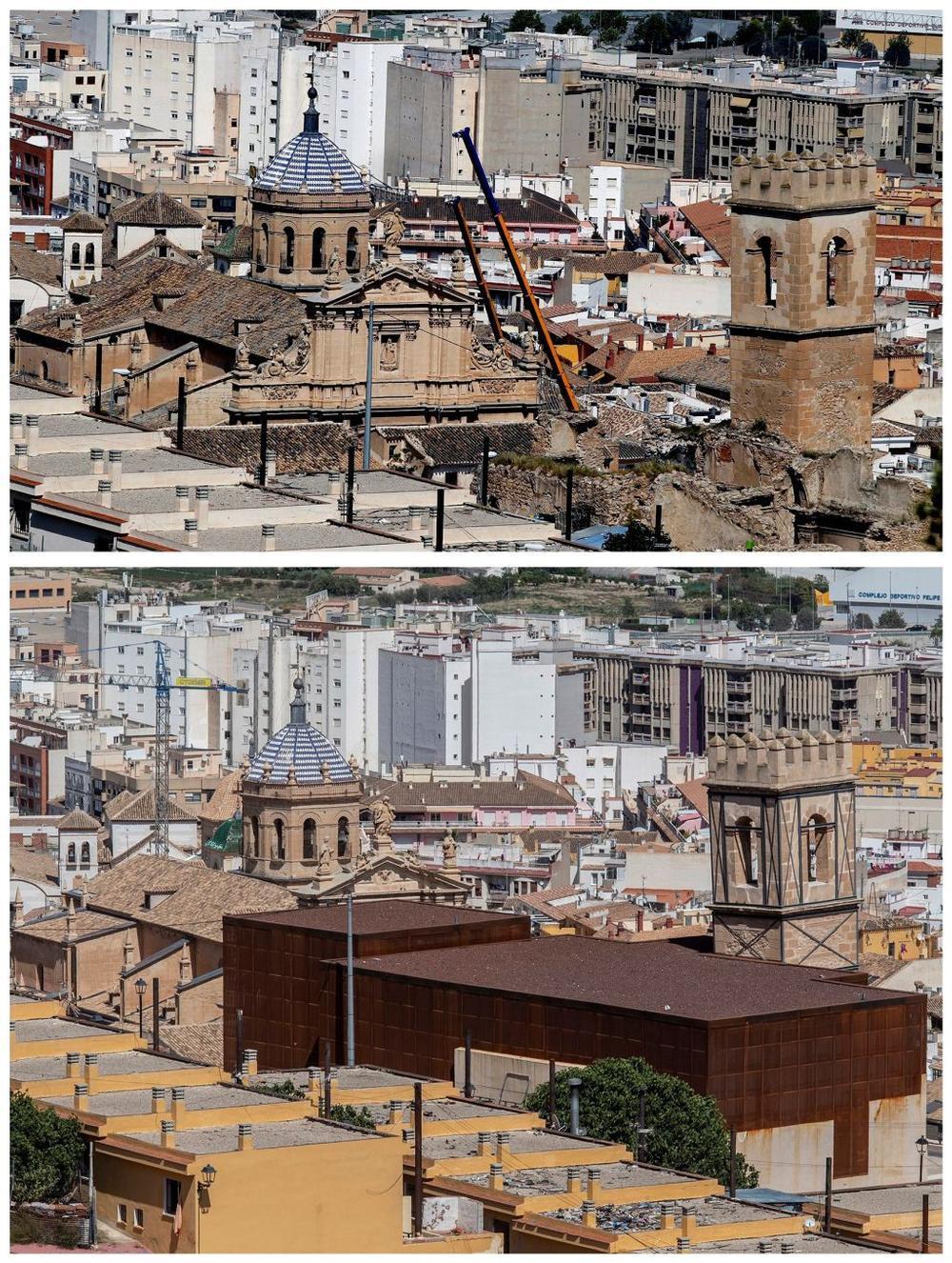 En la fotografía superior, la Colegiata de San Patricio (i) y de la iglesia de San Pedro (d). En la de abajo, cómo han quedado tras las obras.