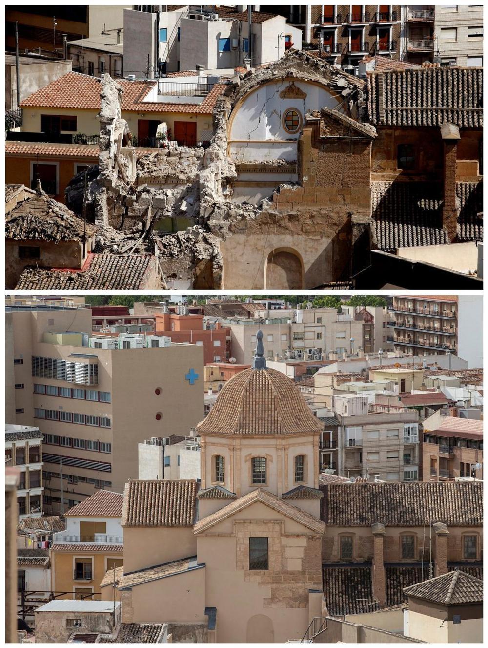 Imágenes de la Iglesia de Santiago de Lorca, la de arriba del 14 de mayo de 2011, tras el terremoto y la de abajo tomada ayer.