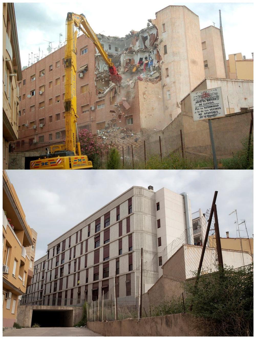 Comparativa del Residencial 'Princesa' del barrio de La Viña tras el seísmo y en la actualidad, después de que se tuviera que demoler.