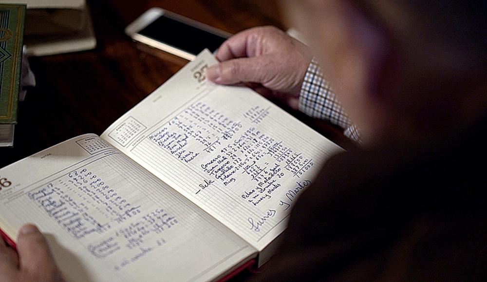 Dietario donde Fernando y su padre Laureano anotaban el trabajo diario.