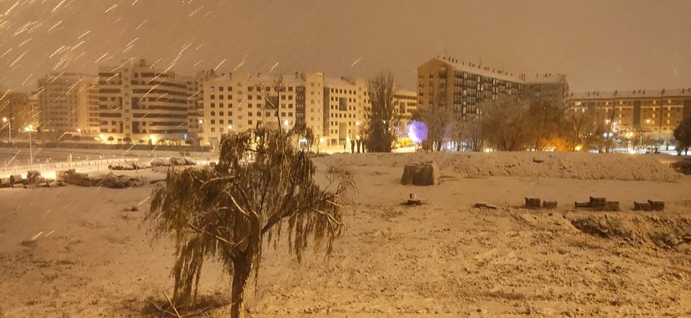 Primera nevada del 2021 en la ciudad de Logroño