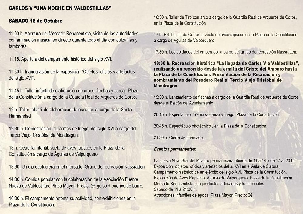 Programación de la recreación histórica de la llegada de Carlos V a Valdestillas.