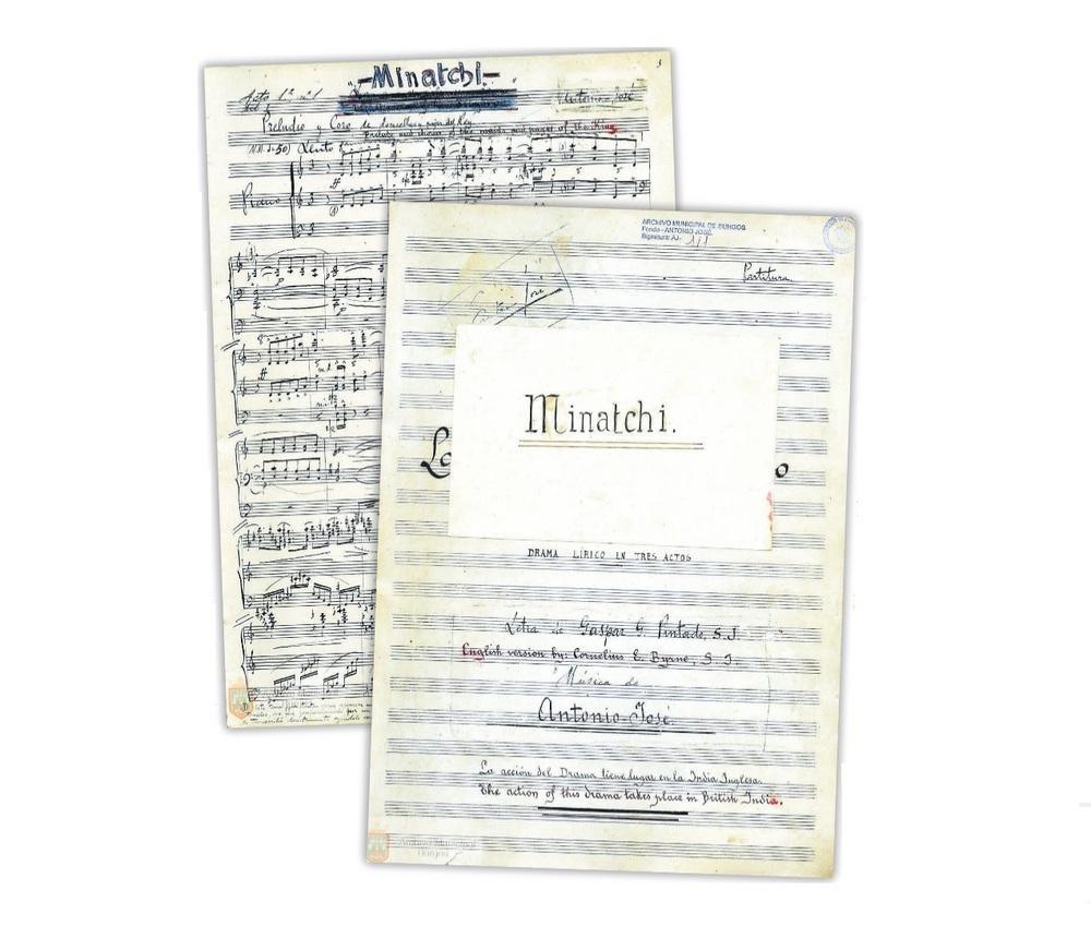 En el manuscrito aparece en rojo la traducción al inglés. Bajo el nombre 'Minatchi' está el primer título que barajó, 'La aurora de un reino'.