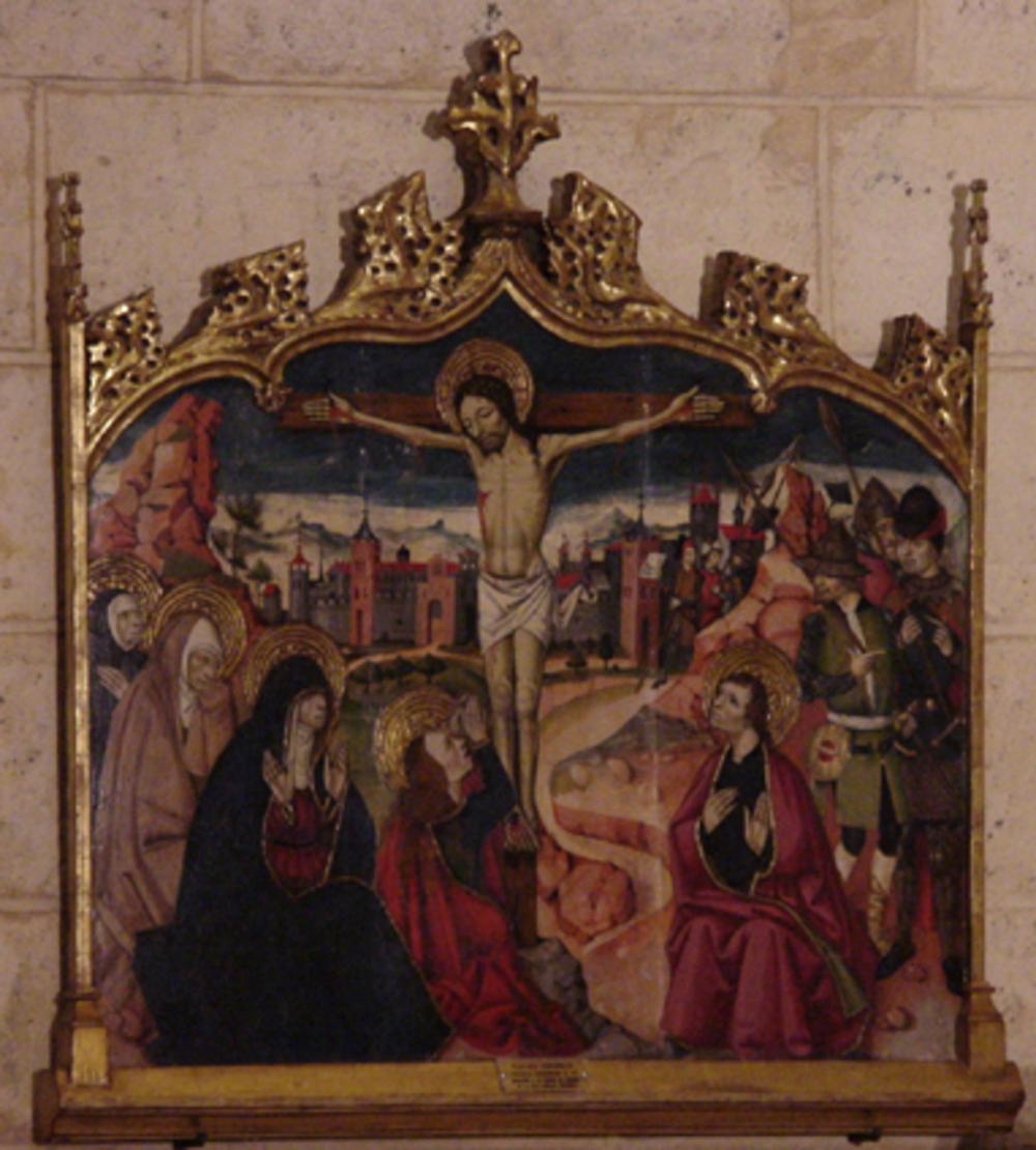 'Crucifixión' es un óleo sobre tabla de la escuela aragonesa del siglo XV que Félix Cañada Guerrero donó a Segovia en 1995 y que desde entonces se exhibe en la fortaleza.
