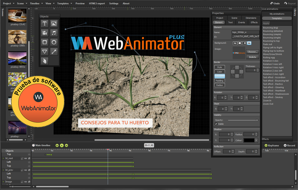 Pantalla principal de WebAnimator, efectuando un test para Diario de Ávila