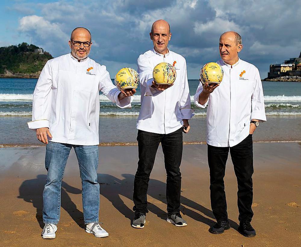 Los nuevos tres soles de la Guía Repsol 2021: Jordi Vilà (Alkimia), Aitor Arregi (Elkano) y Paco Pérez (Miramar).
