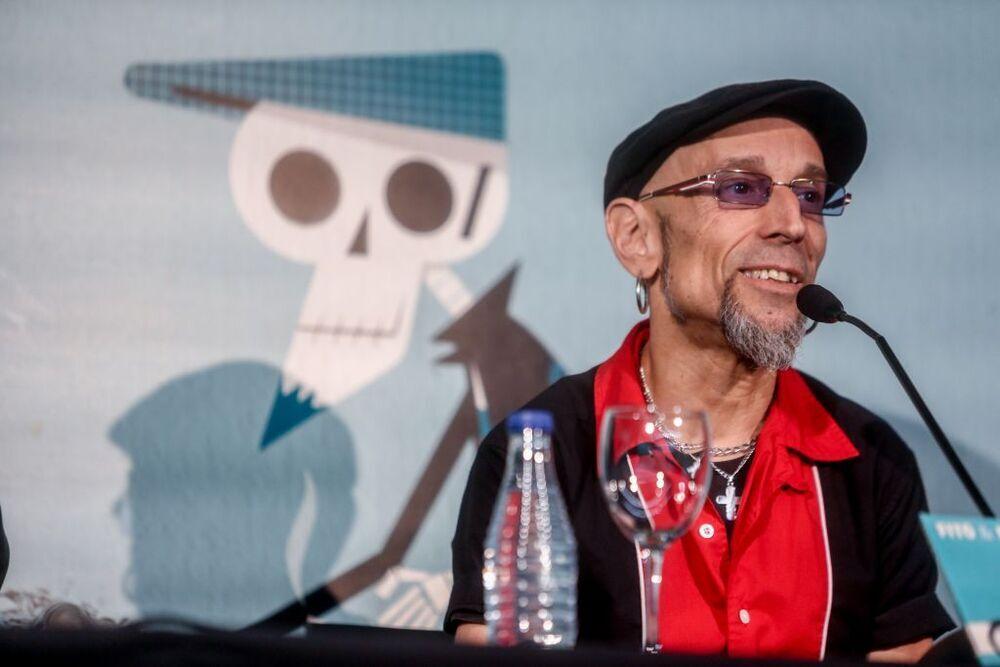 El cantante Fito Cabrales, durante su rueda de prensa en el WiZink Center, en Madrid