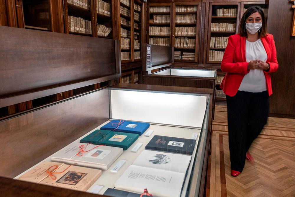 La viceconsejera de Cultura, Ana Muñoz, contempla la exposición.