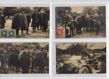 Serie de postales sobre la jornada de caza en Riofrío de Alfonso XIII y el presidente de la República de Francia Émile Loubet, en 1905