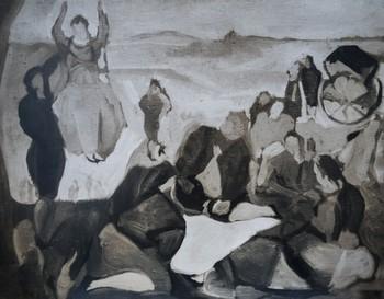 Esta obra desaparecida lleva por título 'Jornada de campo en una pradera'.