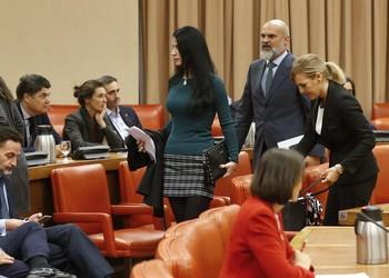 La secretaria general del grupo de Vox, Macarena Olona (c) y otros diputados de la formación verde
