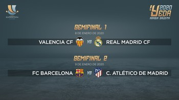 Valencia-Madrid y Barça-Atlético, 'semis' de la Supercopa