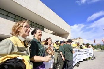 Concentración de protesta de los funcionarios ingenieros de montes y técnicos forestales.