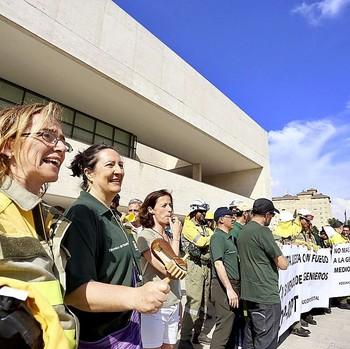 Concentración de protesta de los funcionarios contra el borrador de la RPT.