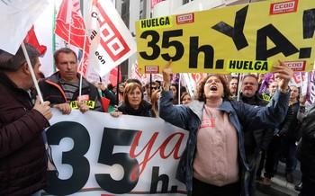 Concentraciones con motivo de la huelga general por la jornada de 35 horas.