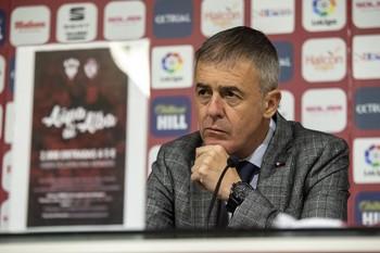 Lucas Alcaraz, el día de su presentación como entrenador del Albacete.