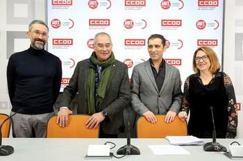 El secretario general de Comisiones Obreras en Castilla y León, Vicente Andrés, y el vicesecretario regional de UGT, Evelio Angulo, inauguran las jornadas 'Cátedra de sindicalismo y Diálogo Social'.