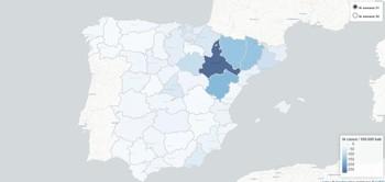 La progresión de la incidencia acumulada de la epidemia en la región queda lejos de la que se registra en el Noreste peninsular, sobre todo en Aragón.