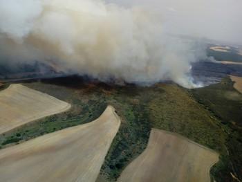 Arden más de 30 hectáreas en Tabanera de Valdavia