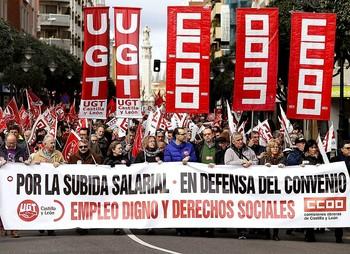 Imágen de archivo de una manifestación celebrada enLeón para reivindicar mejores salarios.