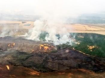 Una máquina origina un incendio en Tabanera de Valdavia