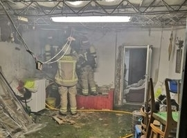 Un incendio en una estufa quema parte de una casa en Tudela.
