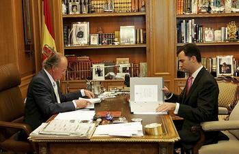 En el despacho de Zarzuela, con Felipe VI.