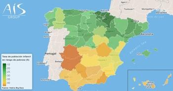 Mapa de la tasa de población infantil en riesgo de pobreza por comunidades autónomas.