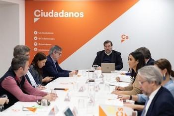 Reunión de la Gestora de Ciudadanos, presidida por Manuel García Bofill, celebrada hace unas semanas.