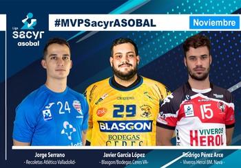 Jorge Serrano aspirante a #MVPSacyrASOBAL de noviembre junto a Javi García y Rodrigo Pérez.