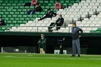El entrenador chileno, durante el encuentro en el que el conjuto sevillano cayó por 0-2 frente al Eibar.