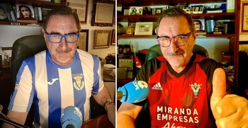 El periodista Carlos Herrera ha lucido esta mañana en antena las camisetas de la Arandina y del Mirandés.