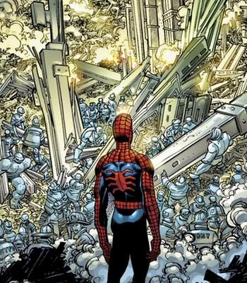 Una de las imágenes más impactantes del libro es cuando Spider-Man contempla desolado las Torres Gemelas destruidas.