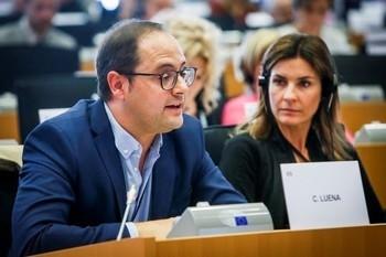César Luena, en una intervención en el Parlamento Europeo.