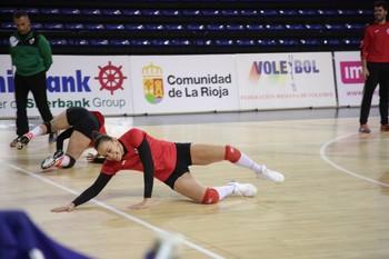 Helia González, en un entrenamiento en el Palacio de los Deportes en la 2017-18.