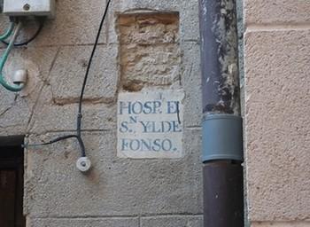 Placa del hospital de San Ildefonso.