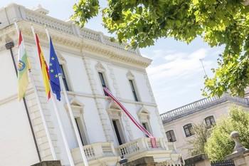La sede del Gobierno riojano muestra el apoyo a la UDL en su carrera hacia el ascenso a Segunda, con la bandera blanquirroja en la fachada.