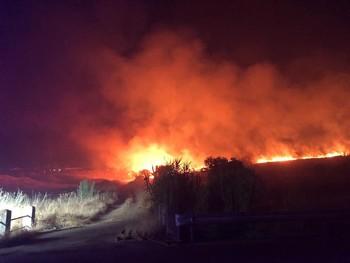 Incendio nocturno cerca de Talavera La Nueva