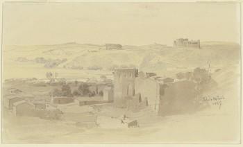 Fritz Bamberger. Vista del barrio de la Antequeruela, la Huerta del Rey y el castillo de San Servando.