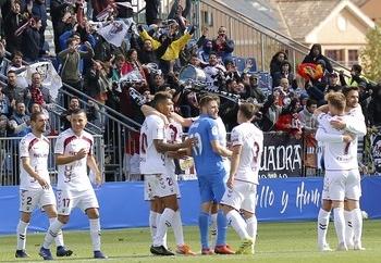 Los jugadores del Albacete celebran su victoria la temporada pasada en el Fernando Torres por 0-1.