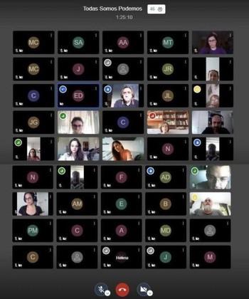 Más de 50 asistente a la asamblea virtual TodasSomosPodemos