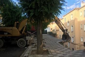 Inician la demolición parcial del muro de Ramiro de Maeztu