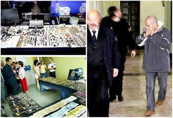 Arriba, televisores, joyas, relojes y ordenadores hallados ahora en su casa; abajo, imagen del botín recuperado en 2005, similar al actual. A la derecha, 'El Urraca' tras un juicio en 2006.