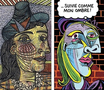 Cartel anunciador de la exposición 'Picasso y el cómic' en el Museo del artista malagueño en París, que podrá verse hasta enero