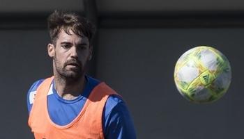 Domínguez, durante un entrenamiento esta temporada