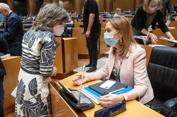 La diputada del PP Ana Pastor (d) conversa con la diputada socialista María Luisa Carcedo.