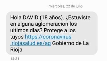Uno de los SMS enviados en la campaña del Gobierno de La Rioja.