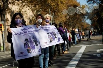 Manifestación para denunciar la violencia machista en Barcelona.